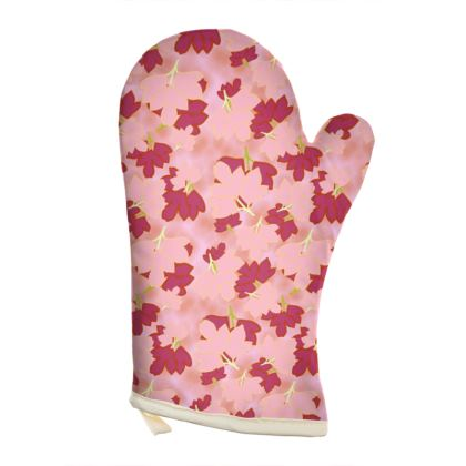 Pink Oven Glove  Oriental Leaves  Fruit Smoothie