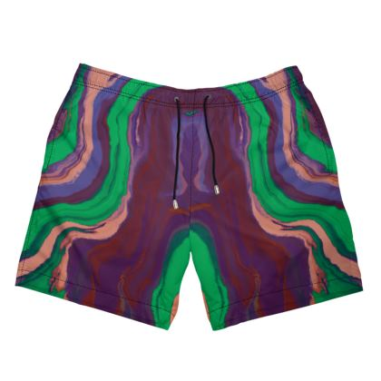 Mens Swimming Shorts - Colours of Saturn Marble Pattern 2