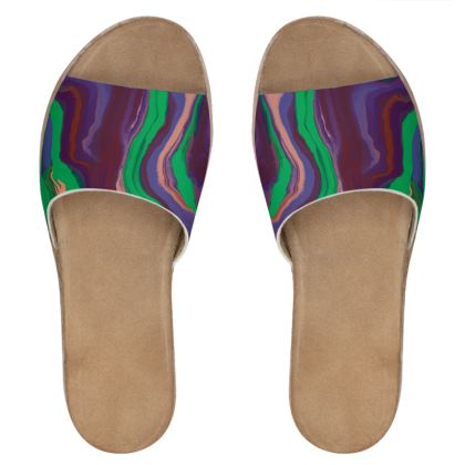 Womens Leather Sliders - Colours of Saturn Marble Pattern 2