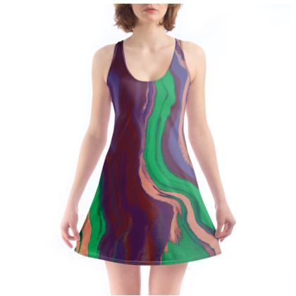 Beach Dress - Colours of Saturn Marble Pattern 2