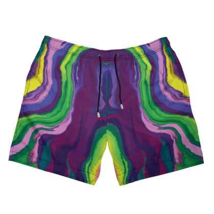 Mens Swimming Shorts - Colours of Saturn Marble Pattern 3