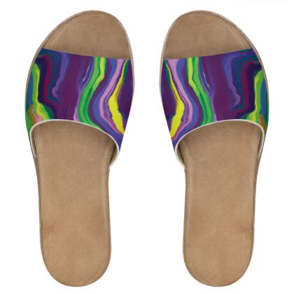 Womens Leather Sliders - Colours of Saturn Marble Pattern 3