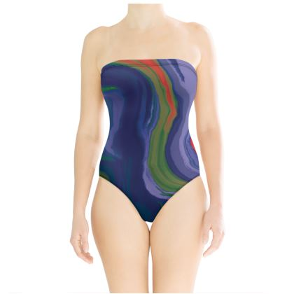Strapless Swimsuit - Colours of Saturn Marble Pattern 4