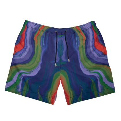 Mens Swimming Shorts - Colours of Saturn Marble Pattern 4