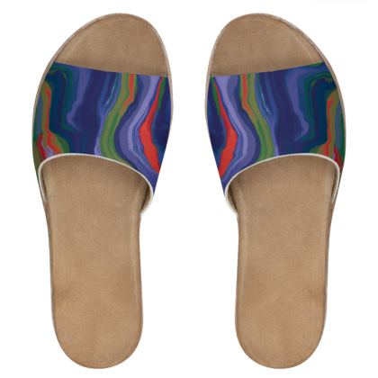 Womens Leather Sliders - Colours of Saturn Marble Pattern 4