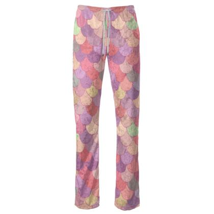 Cute Pink Mermaid Scales Women's Trousers