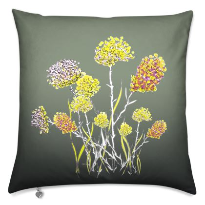 Luxury Cushion: Flower Placement on Sage Green