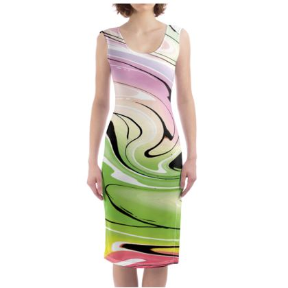 Bodycon Dress - Multicolour Swirling Marble Pattern 2 of 12