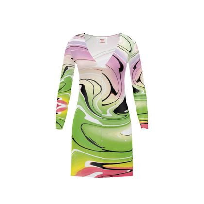 Short Ladies Cardigan - Multicolour Swirling Marble Pattern 2 of 12