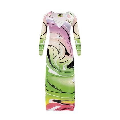 Long Ladies Cardigan - Multicolour Swirling Marble Pattern 2 of 12