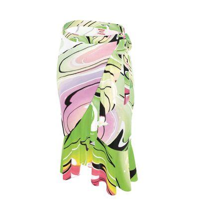 Long Flounce Skirt - Multicolour Swirling Marble Pattern 2 of 12