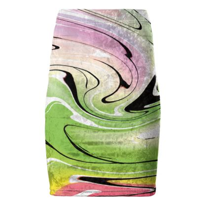 Pencil Skirt - Multicolour Swirling Marble Pattern 2 of 12