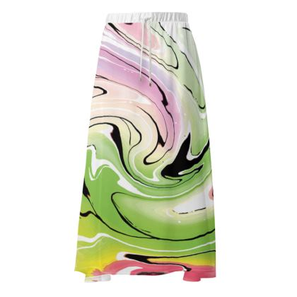 Maxi Skirt - Multicolour Swirling Marble Pattern 2 of 12