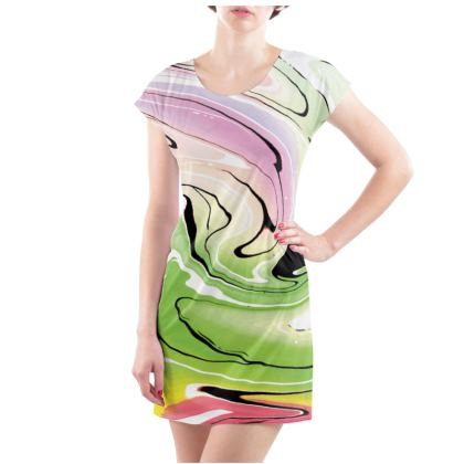 Ladies Tunic T Shirt - Multicolour Swirling Marble Pattern 2 of 12