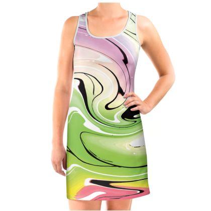 Vest Dress - Multicolour Swirling Marble Pattern 2 of 12