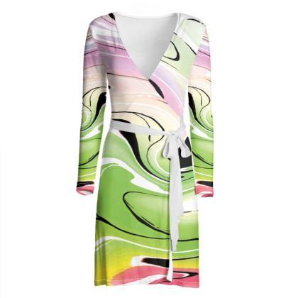 Wrap Dress - Multicolour Swirling Marble Pattern 2 of 12