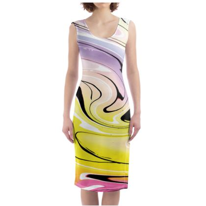 Bodycon Dress - Multicolour Swirling Marble Pattern 3 of 12
