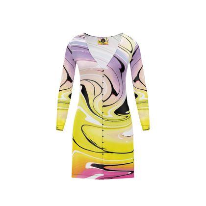 Short Ladies Cardigan - Multicolour Swirling Marble Pattern 3 of 12