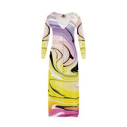 Long Ladies Cardigan - Multicolour Swirling Marble Pattern 3 of 12