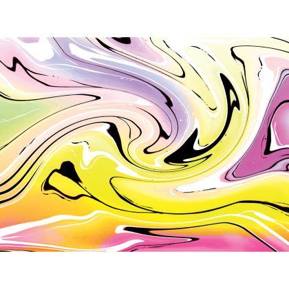 Knee Length Flared Skirt - Multicolour Swirling Marble Pattern 3 of 12