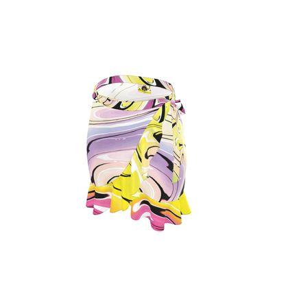 Short Flounce Skirt - Multicolour Swirling Marble Pattern 3 of 12