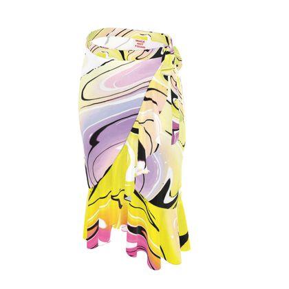 Long Flounce Skirt - Multicolour Swirling Marble Pattern 3 of 12