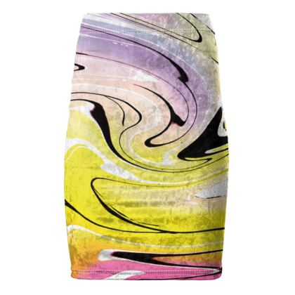 Pencil Skirt - Multicolour Swirling Marble Pattern 3 of 12