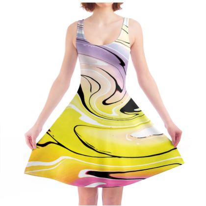 Skater Dress - Multicolour Swirling Marble Pattern 3 of 12