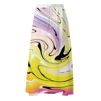 Maxi Skirt - Multicolour Swirling Marble Pattern 3 of 12