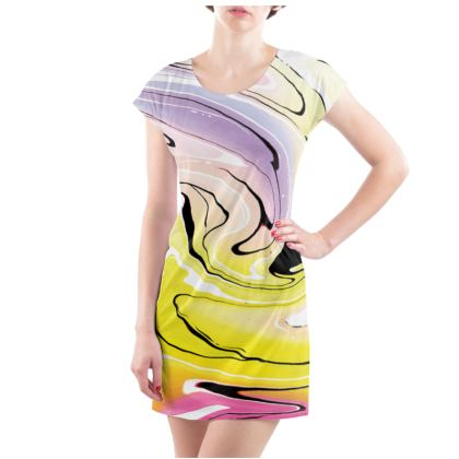 Ladies Tunic T Shirt - Multicolour Swirling Marble Pattern 3 of 12