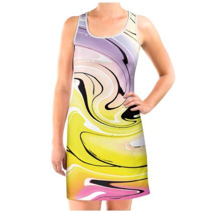 Vest Dress - Multicolour Swirling Marble Pattern 3 of 12