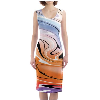Bodycon Dress - Multicolour Swirling Marble Pattern 4 of 12