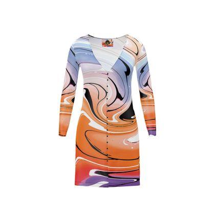 Short Ladies Cardigan - Multicolour Swirling Marble Pattern 4 of 12