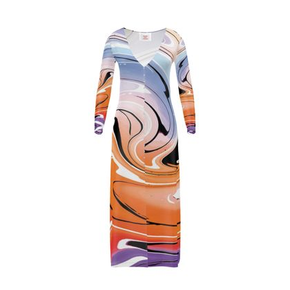 Long Ladies Cardigan - Multicolour Swirling Marble Pattern 4 of 12