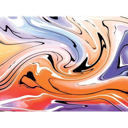 Knee Length Flared Skirt - Multicolour Swirling Marble Pattern 4 of 12