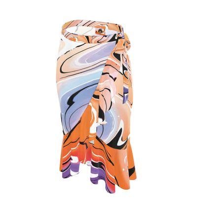Long Flounce Skirt - Multicolour Swirling Marble Pattern 4 of 12