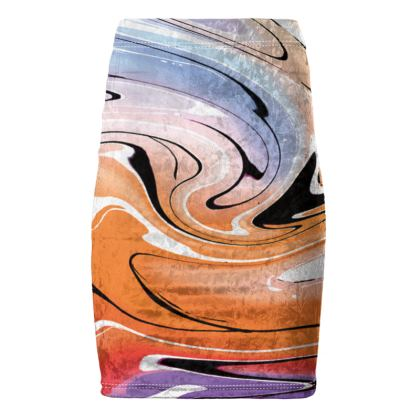 Pencil Skirt - Multicolour Swirling Marble Pattern 4 of 12