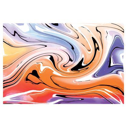 Midi Skirt - Multicolour Swirling Marble Pattern 4 of 12