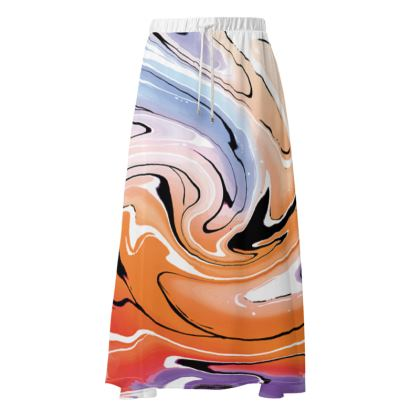 Maxi Skirt - Multicolour Swirling Marble Pattern 4 of 12