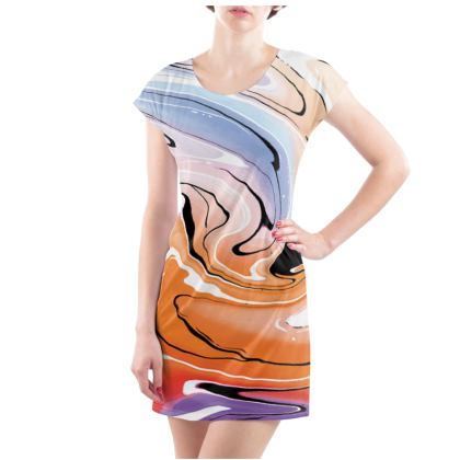 Ladies Tunic T Shirt - Multicolour Swirling Marble Pattern 4 of 12