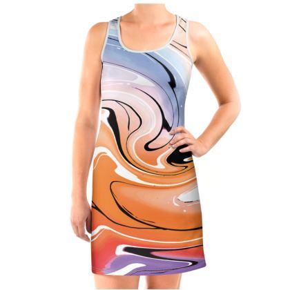 Vest Dress - Multicolour Swirling Marble Pattern 4 of 12