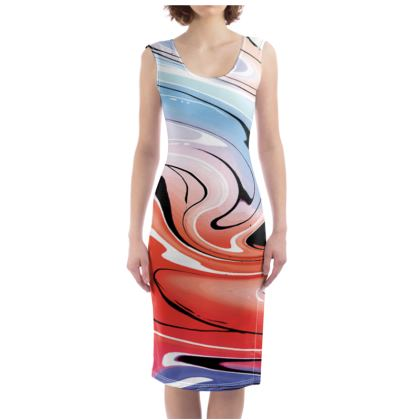 Bodycon Dress - Multicolour Swirling Marble Pattern 5 of 12
