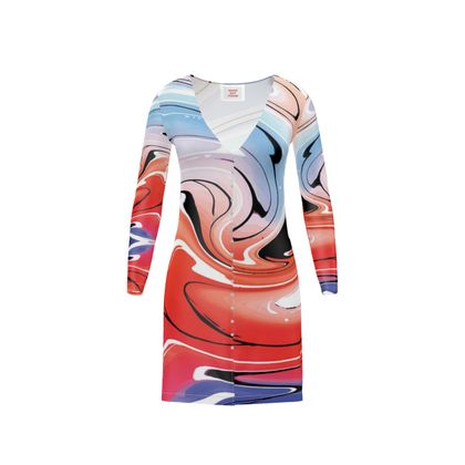 Short Ladies Cardigan - Multicolour Swirling Marble Pattern 5 of 12