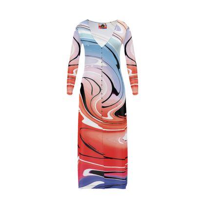 Long Ladies Cardigan - Multicolour Swirling Marble Pattern 5 of 12
