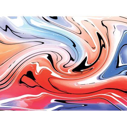 Knee Length Flared Skirt - Multicolour Swirling Marble Pattern 5 of 12