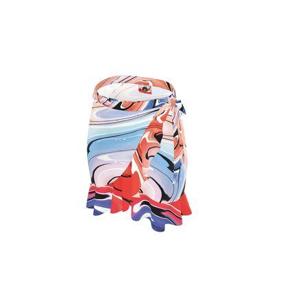 Short Flounce Skirt - Multicolour Swirling Marble Pattern 5 of 12