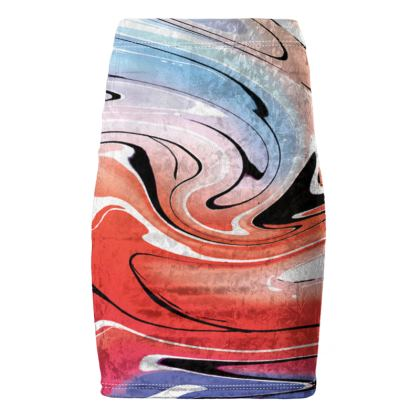 Pencil Skirt - Multicolour Swirling Marble Pattern 5 of 12