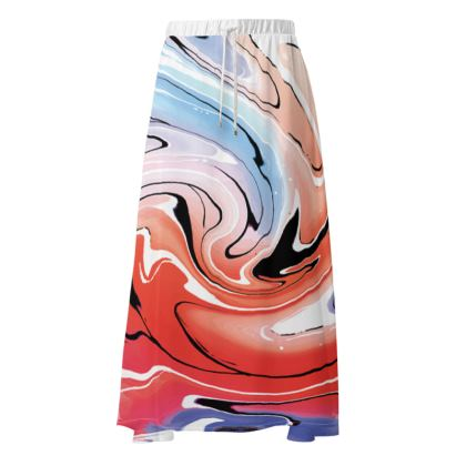 Maxi Skirt - Multicolour Swirling Marble Pattern 5 of 12