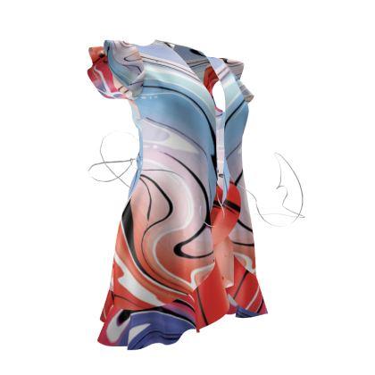 Tea Dress - Multicolour Swirling Marble Pattern 5 of 12