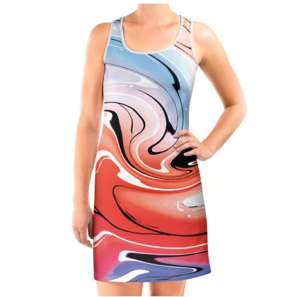 Vest Dress - Multicolour Swirling Marble Pattern 5 of 12